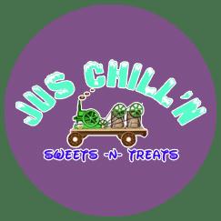 Jus Chill'n Sweets -N- Treats menu items include Homemade Ice Cream, Donut Sundae, Root Beer Floats, Mini Apple Cider Donuts, Fresh Lemonade.